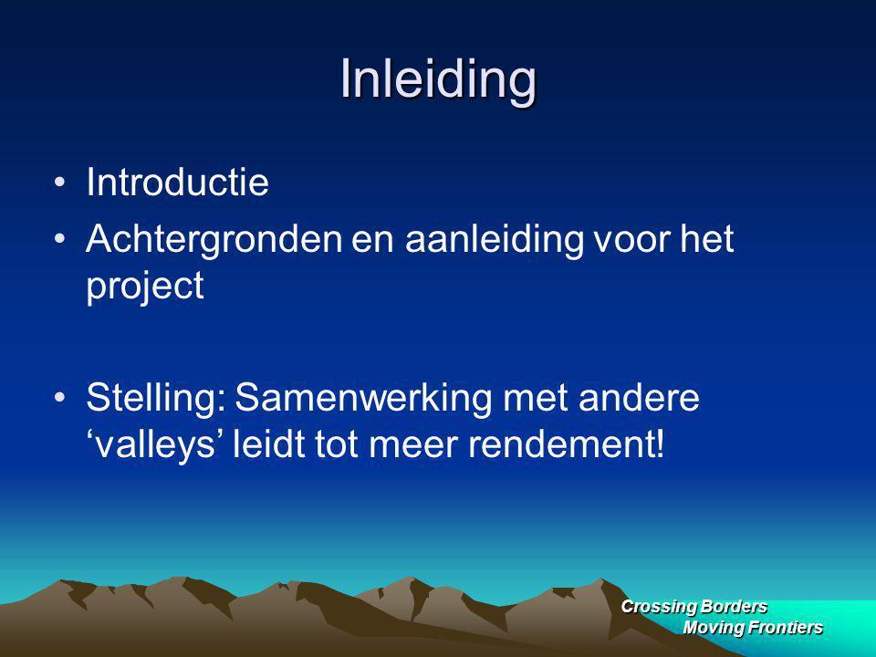 Crossing Borders Moving Frontiers Inleiding Introductie Achtergronden en aanleiding voor het project Stelling: Samenwerking met andere 'valleys' leidt tot meer rendement!