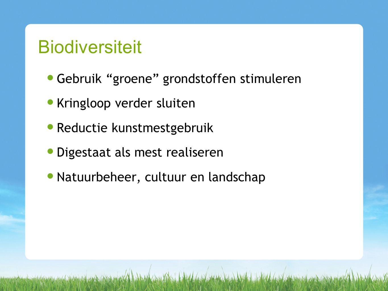 Gebruik groene grondstoffen stimuleren Kringloop verder sluiten Reductie kunstmestgebruik Digestaat als mest realiseren Natuurbeheer, cultuur en landschap Biodiversiteit