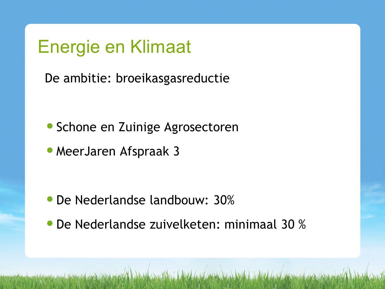 De ambitie: broeikasgasreductie Schone en Zuinige Agrosectoren MeerJaren Afspraak 3 De Nederlandse landbouw: 30% De Nederlandse zuivelketen: minimaal