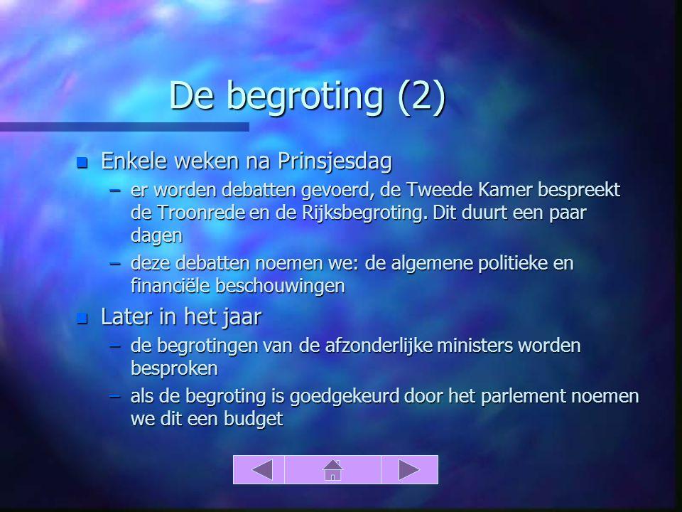 De begroting (2) n Enkele weken na Prinsjesdag –er worden debatten gevoerd, de Tweede Kamer bespreekt de Troonrede en de Rijksbegroting.