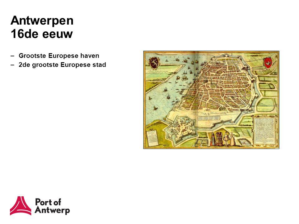 Antwerpen 17de en 18de eeuw –Godsdienstoorlogen –1585: val van Antwerpen –Noordelijke Nederlanden blokkeren de Schelde –Schelde 200 jaar afgesloten