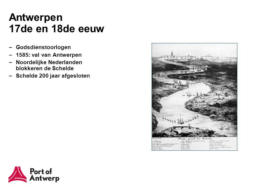 Antwerpen 18de en 19de eeuw –Franse Revolutie –1795: Napoleon heropent Schelde –1863: Afkoop Scheldetol Nationaal Scheepvaartmuseum - MAS