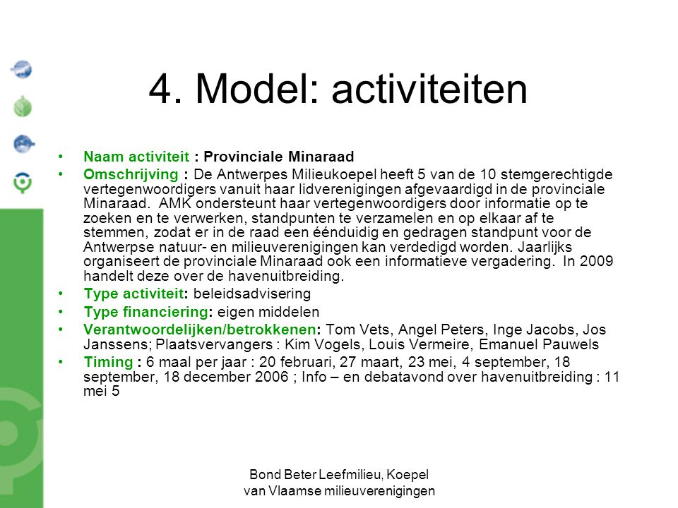 Bond Beter Leefmilieu, Koepel van Vlaamse milieuverenigingen 4. Model: activiteiten Naam activiteit : Provinciale Minaraad Omschrijving : De Antwerpes