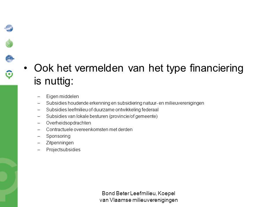 Bond Beter Leefmilieu, Koepel van Vlaamse milieuverenigingen Ook het vermelden van het type financiering is nuttig: –Eigen middelen –Subsidies houdend