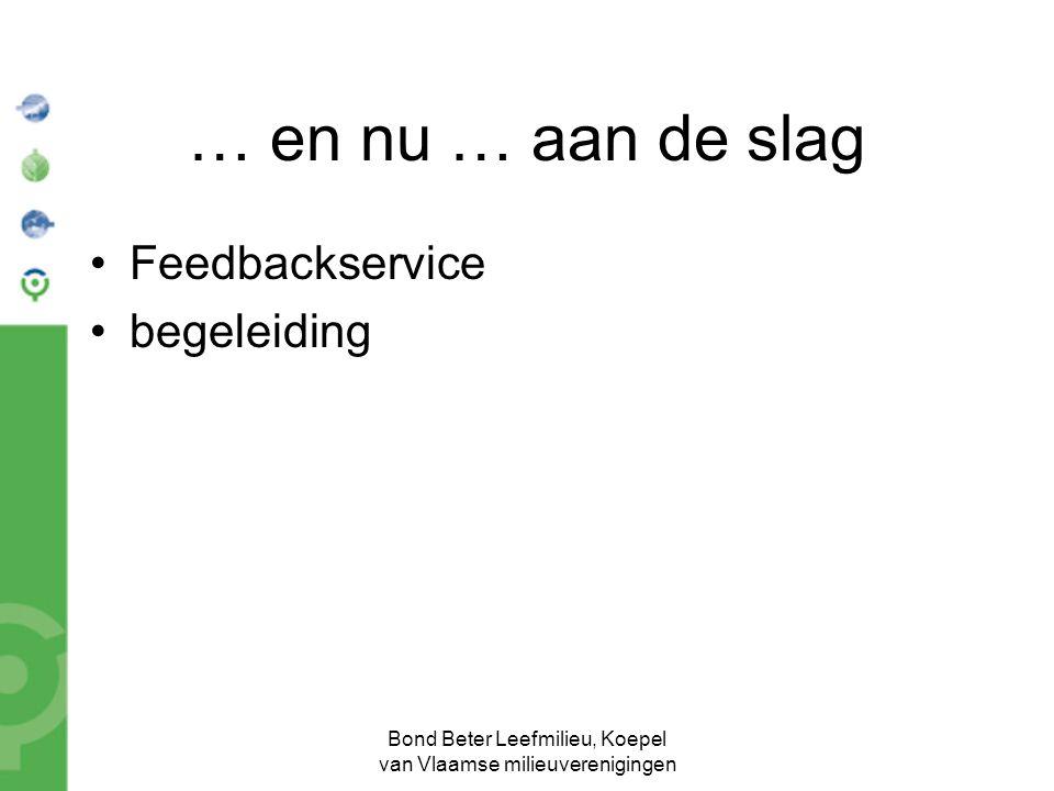 Bond Beter Leefmilieu, Koepel van Vlaamse milieuverenigingen … en nu … aan de slag Feedbackservice begeleiding