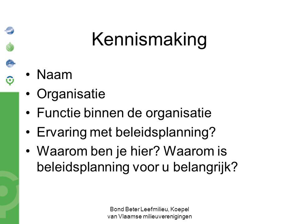 Bond Beter Leefmilieu, Koepel van Vlaamse milieuverenigingen Kennismaking Naam Organisatie Functie binnen de organisatie Ervaring met beleidsplanning?