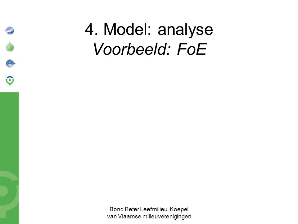 Bond Beter Leefmilieu, Koepel van Vlaamse milieuverenigingen 4. Model: analyse Voorbeeld: FoE