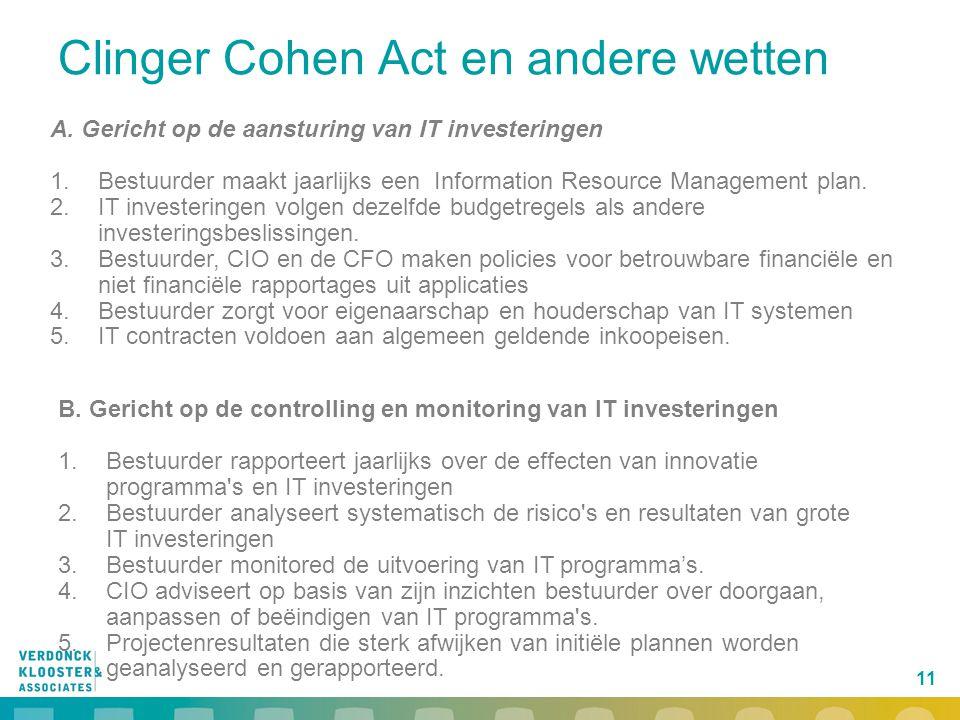 11 Clinger Cohen Act en andere wetten B. Gericht op de controlling en monitoring van IT investeringen 1.Bestuurder rapporteert jaarlijks over de effec