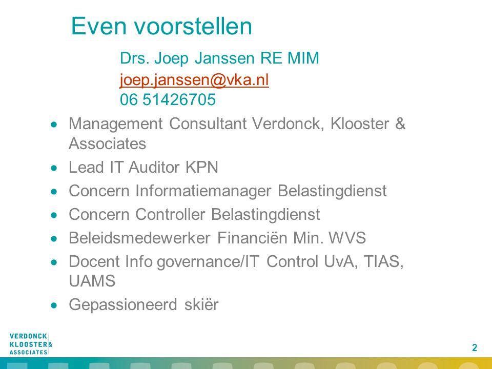 2 Even voorstellen Drs. Joep Janssen RE MIM joep.janssen@vka.nl 06 51426705 joep.janssen@vka.nl  Management Consultant Verdonck, Klooster & Associate
