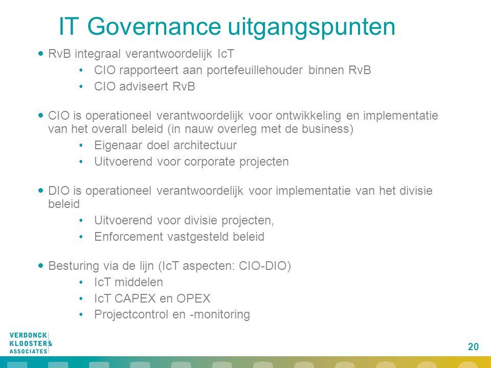 20 IT Governance uitgangspunten  RvB integraal verantwoordelijk IcT CIO rapporteert aan portefeuillehouder binnen RvB CIO adviseert RvB  CIO is oper
