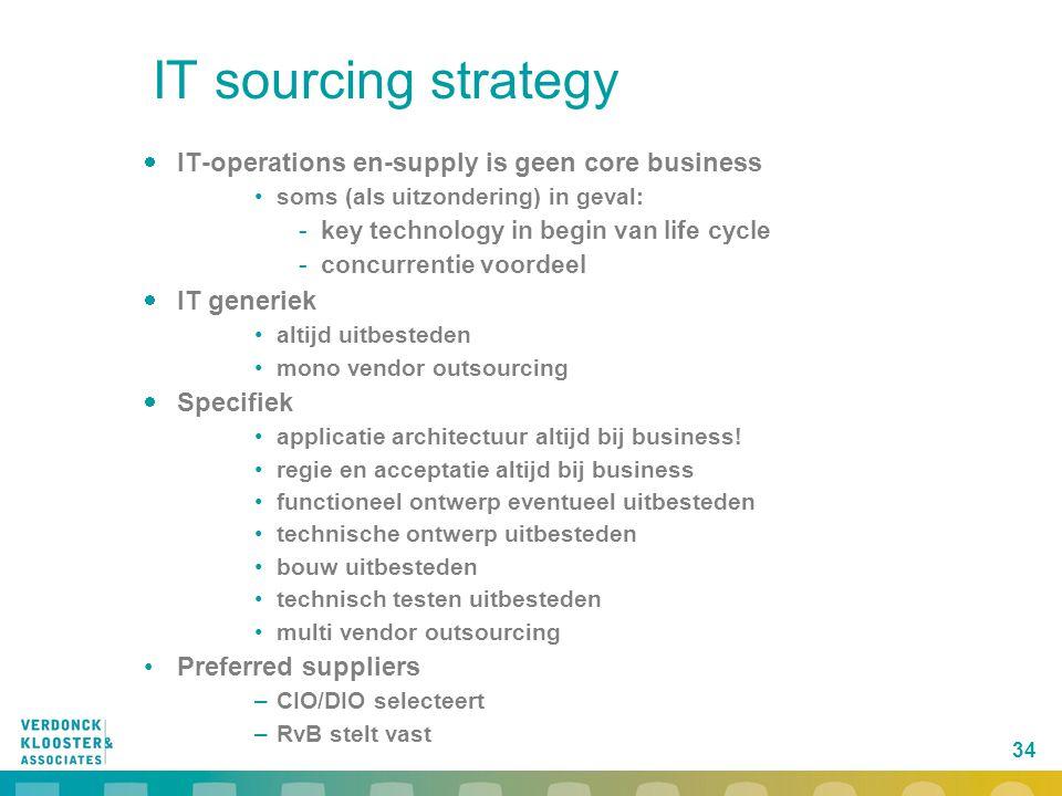 34 IT sourcing strategy  IT-operations en-supply is geen core business soms (als uitzondering) in geval: -key technology in begin van life cycle -con