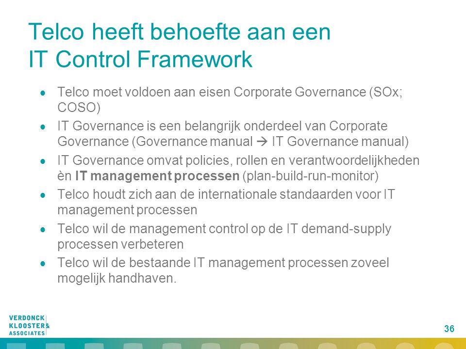 36 Telco heeft behoefte aan een IT Control Framework  Telco moet voldoen aan eisen Corporate Governance (SOx; COSO)  IT Governance is een belangrijk