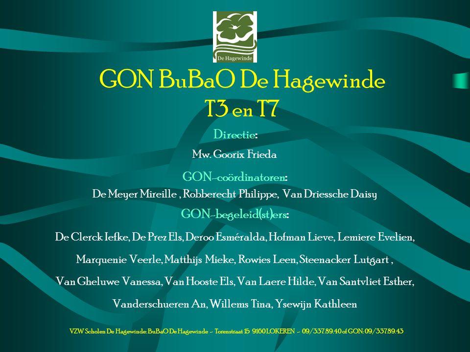 VZW Scholen De Hagewinde: BuBaO De Hagewinde - Torenstraat 15 9160 LOKEREN - 09/337.89.40 of GON: 09/337.89.43 GON BuBaO De Hagewinde T3 en T7 Directi