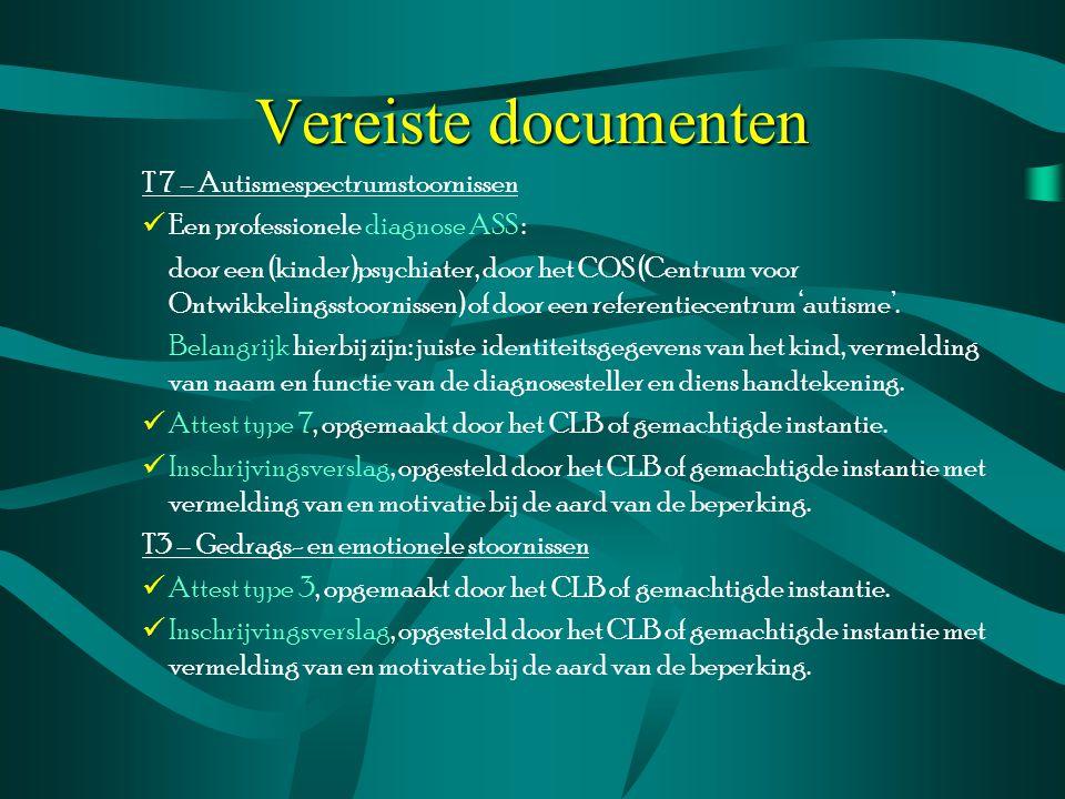 Vereiste documenten T 7 – Autismespectrumstoornissen Een professionele diagnose ASS : door een (kinder)psychiater, door het COS (Centrum voor Ontwikke