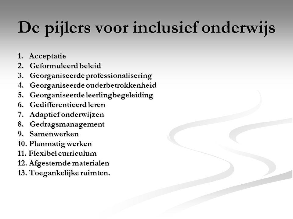 De pijlers voor inclusief onderwijs 1. Acceptatie 2. Geformuleerd beleid 3. Georganiseerde professionalisering 4. Georganiseerde ouderbetrokkenheid 5.
