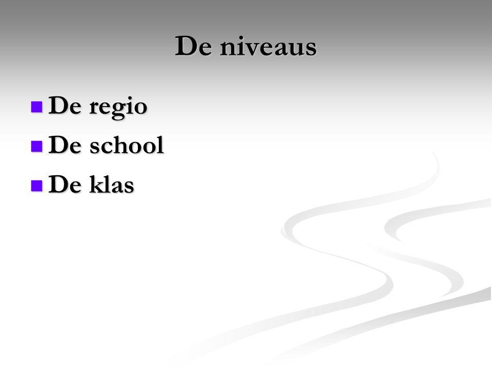 De niveaus De regio De regio De school De school De klas De klas