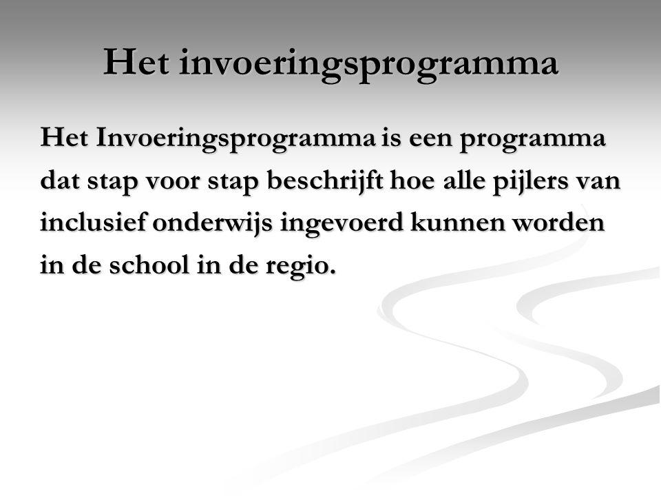 Het invoeringsprogramma Het Invoeringsprogramma is een programma dat stap voor stap beschrijft hoe alle pijlers van inclusief onderwijs ingevoerd kunn