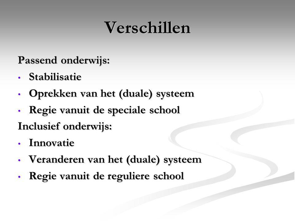 Verschillen Passend onderwijs: Stabilisatie Stabilisatie Oprekken van het (duale) systeem Oprekken van het (duale) systeem Regie vanuit de speciale sc