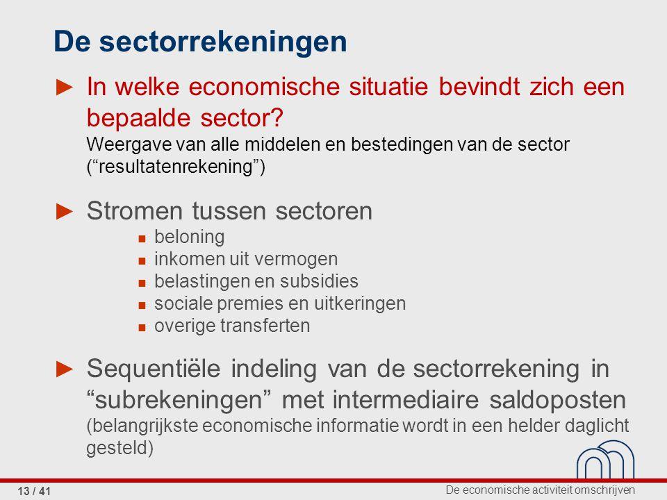 De economische activiteit omschrijven 13 / 41 De sectorrekeningen ► In welke economische situatie bevindt zich een bepaalde sector.