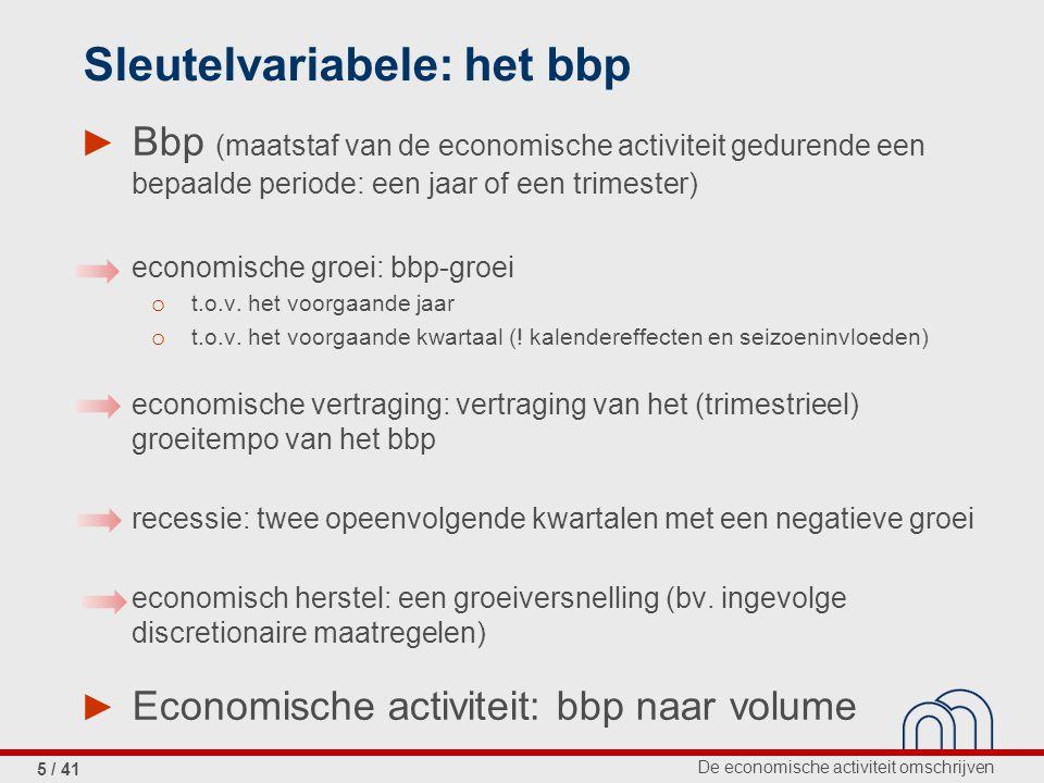 De economische activiteit omschrijven 5 / 41 Sleutelvariabele: het bbp ► Bbp (maatstaf van de economische activiteit gedurende een bepaalde periode: een jaar of een trimester) economische groei: bbp-groei o t.o.v.