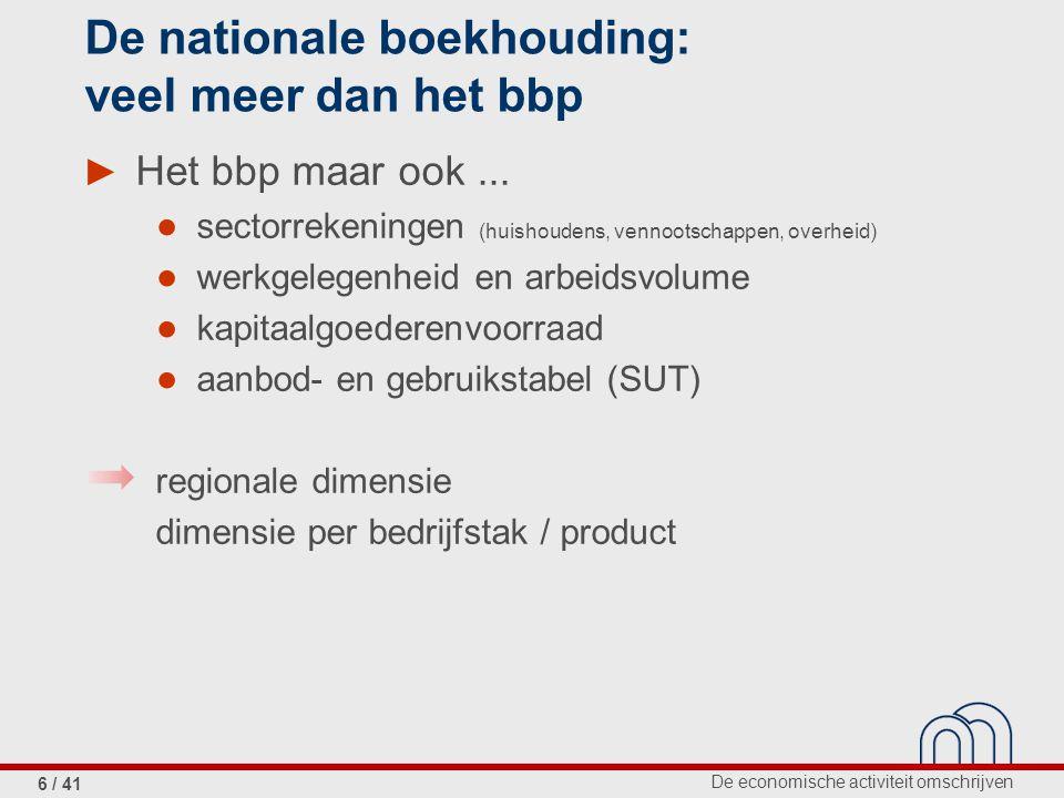 De economische activiteit omschrijven 6 / 41 De nationale boekhouding: veel meer dan het bbp ► Het bbp maar ook...