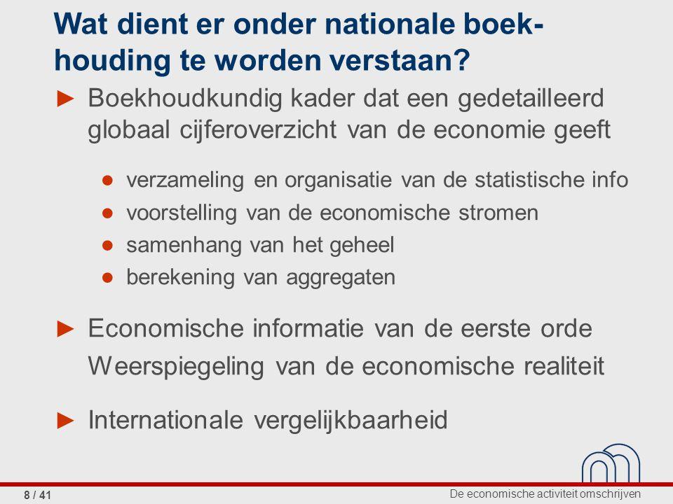 De economische activiteit omschrijven 9 / 41 1.De nationale rekeningen in de pers 2.Op welke vragen kunnen de nationale rekeningen een antwoord bieden.