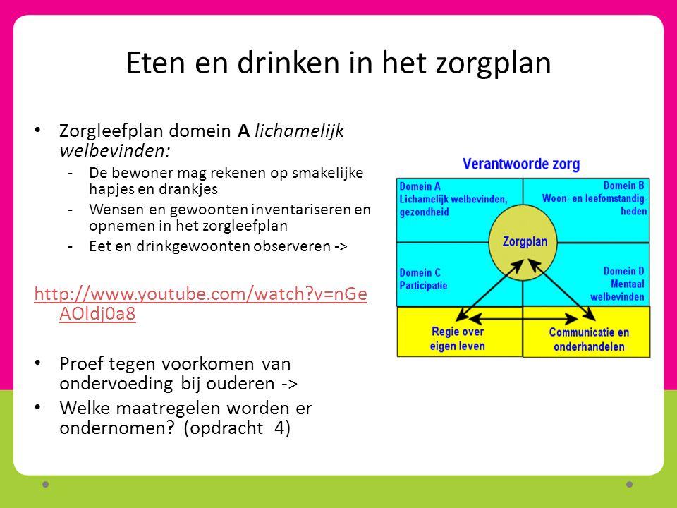 Eten en drinken in het zorgplan Zorgleefplan domein A lichamelijk welbevinden: -De bewoner mag rekenen op smakelijke hapjes en drankjes -Wensen en gew