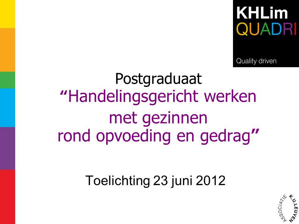 Postgraduaat Handelingsgericht werken met gezinnen rond opvoeding en gedrag Toelichting 23 juni 2012