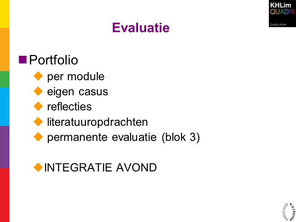 Evaluatie Portfolio  per module  eigen casus  reflecties  literatuuropdrachten  permanente evaluatie (blok 3)  INTEGRATIE AVOND