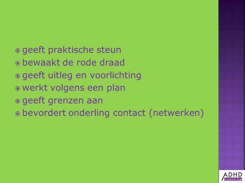  geeft praktische steun  bewaakt de rode draad  geeft uitleg en voorlichting  werkt volgens een plan  geeft grenzen aan  bevordert onderling contact (netwerken)