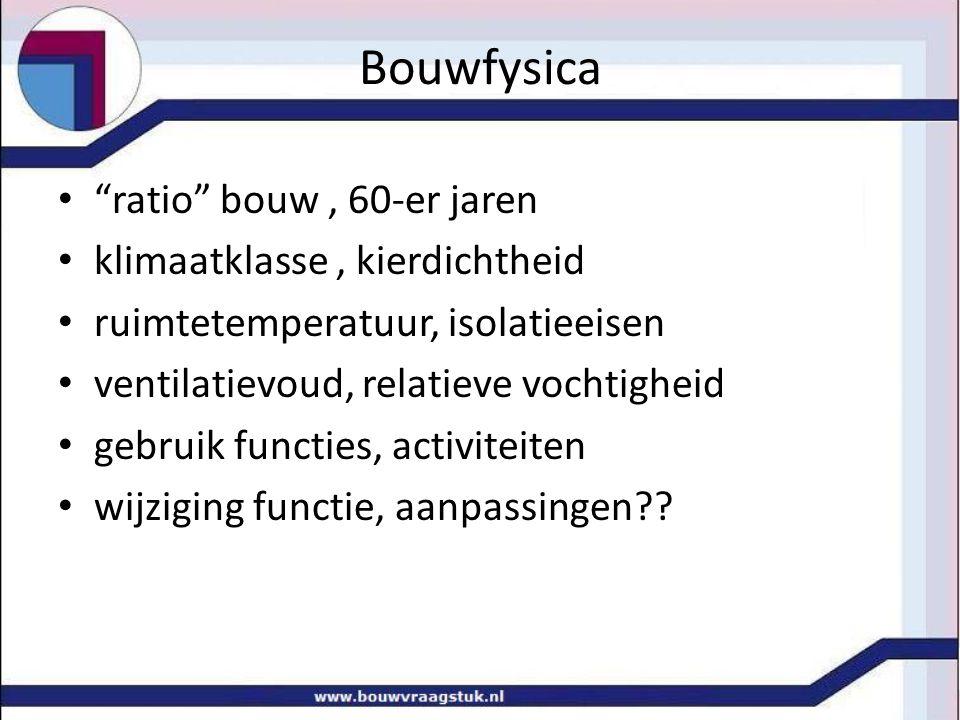 """Bouwfysica """"ratio"""" bouw, 60-er jaren klimaatklasse, kierdichtheid ruimtetemperatuur, isolatieeisen ventilatievoud, relatieve vochtigheid gebruik funct"""