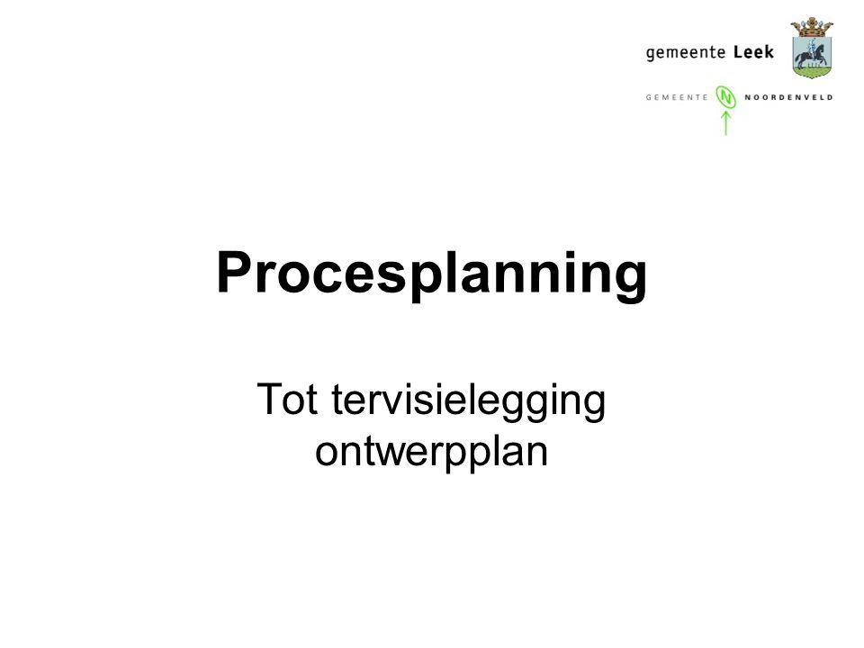 Procesplanning Tot tervisielegging ontwerpplan
