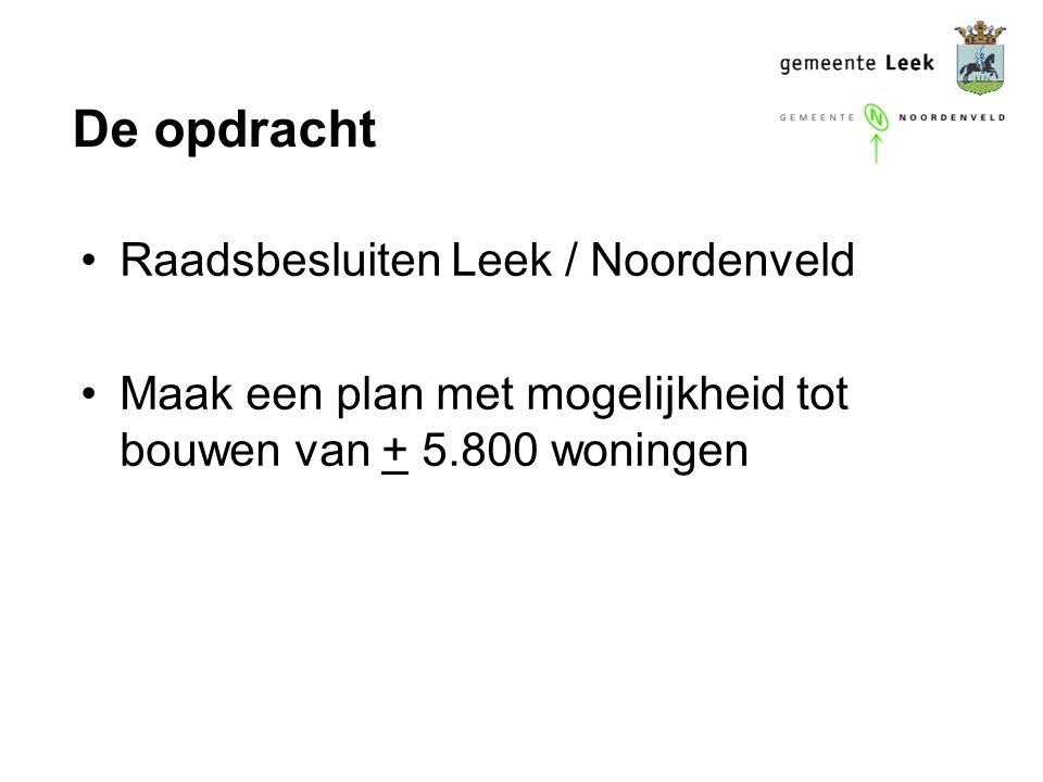 De opdracht Raadsbesluiten Leek / Noordenveld Maak een plan met mogelijkheid tot bouwen van + 5.800 woningen