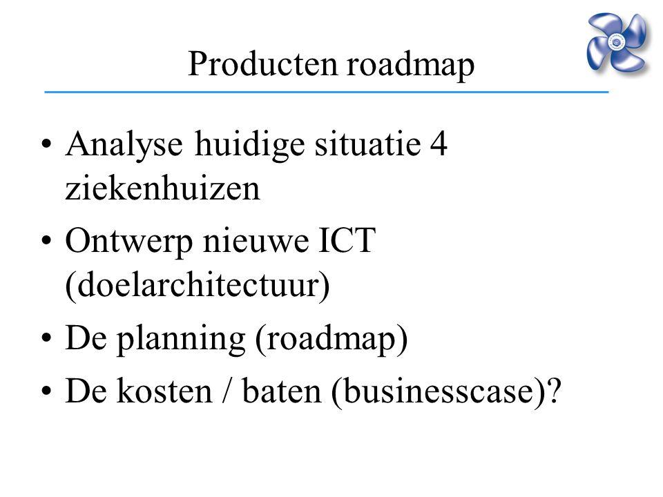 Analyse huidige situatie 4 ziekenhuizen Ontwerp nieuwe ICT (doelarchitectuur) De planning (roadmap) De kosten / baten (businesscase)? Producten roadma