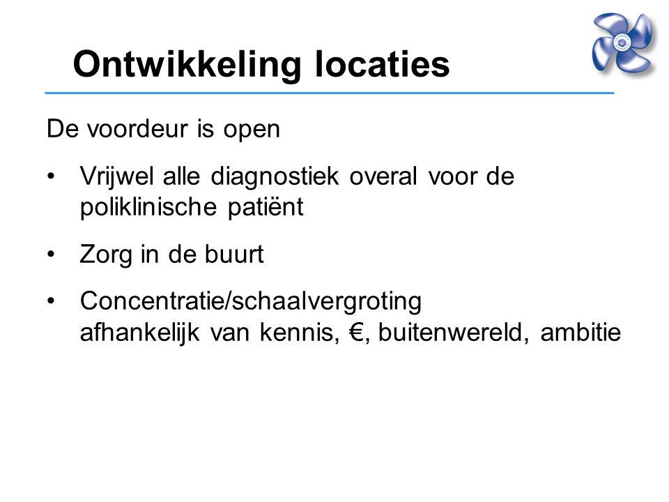 De voordeur is open Vrijwel alle diagnostiek overal voor de poliklinische patiënt Zorg in de buurt Concentratie/schaalvergroting afhankelijk van kenni