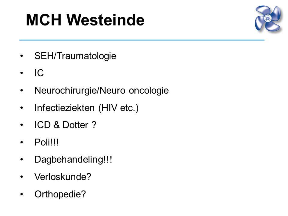 SEH/Traumatologie IC Neurochirurgie/Neuro oncologie Infectieziekten (HIV etc.) ICD & Dotter ? Poli!!! Dagbehandeling!!! Verloskunde? Orthopedie? MCH W