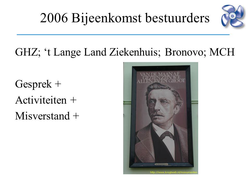 2006 Bijeenkomst bestuurders GHZ; 't Lange Land Ziekenhuis; Bronovo; MCH Gesprek + Activiteiten + Misverstand +