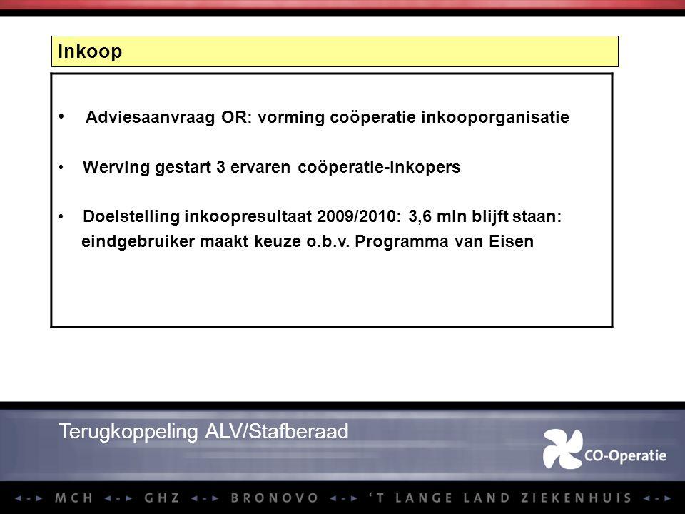Inkoop Terugkoppeling ALV/Stafberaad Adviesaanvraag OR: vorming coöperatie inkooporganisatie Werving gestart 3 ervaren coöperatie-inkopers Doelstellin