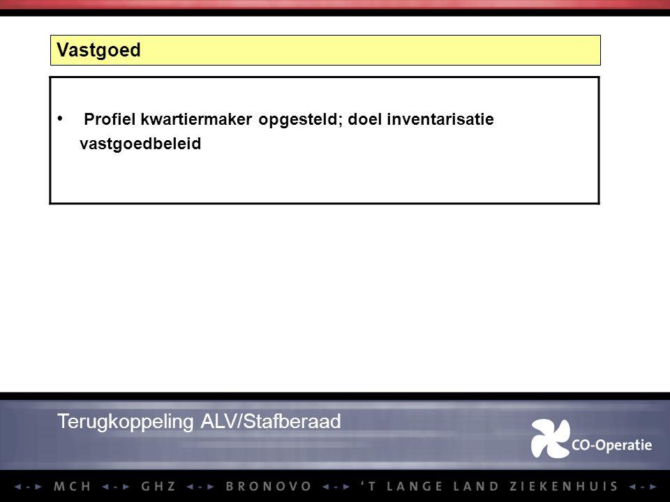 Vastgoed Profiel kwartiermaker opgesteld; doel inventarisatie vastgoedbeleid Terugkoppeling ALV/Stafberaad