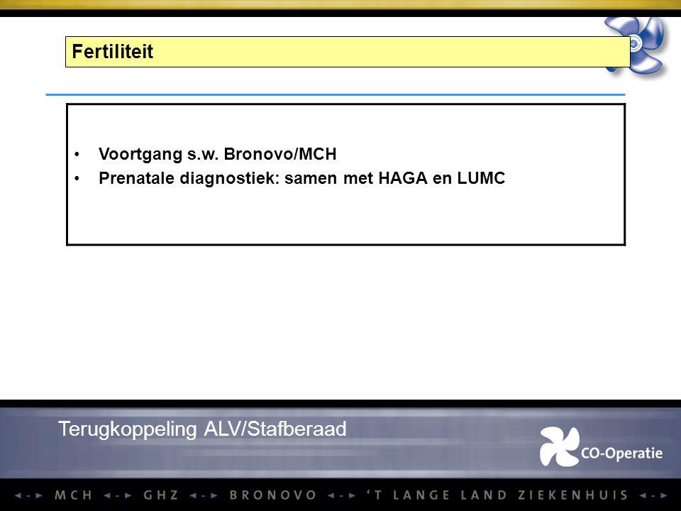Fertiliteit Voortgang s.w. Bronovo/MCH Prenatale diagnostiek: samen met HAGA en LUMC