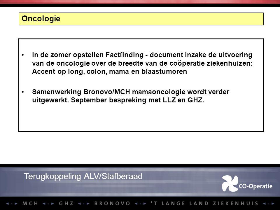 Oncologie In de zomer opstellen Factfinding - document inzake de uitvoering van de oncologie over de breedte van de coöperatie ziekenhuizen: Accent op