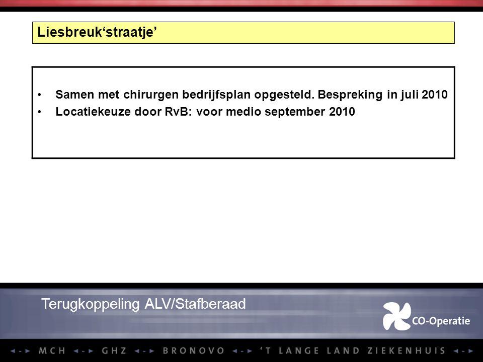 Liesbreuk'straatje' Samen met chirurgen bedrijfsplan opgesteld. Bespreking in juli 2010 Locatiekeuze door RvB: voor medio september 2010 Terugkoppelin