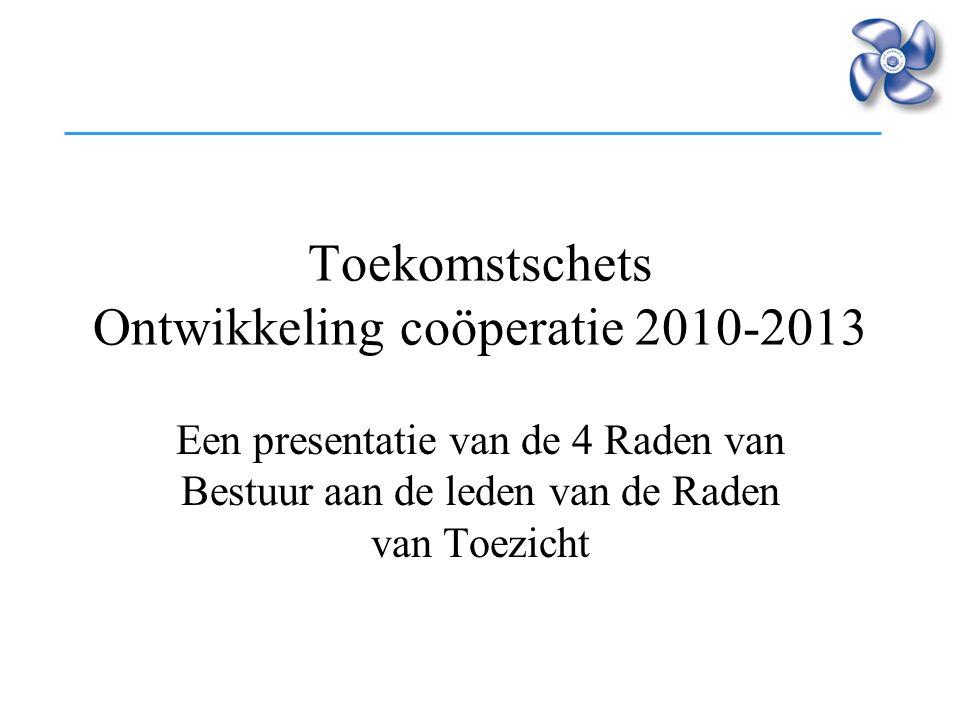 Toekomstschets Ontwikkeling coöperatie 2010-2013 Een presentatie van de 4 Raden van Bestuur aan de leden van de Raden van Toezicht