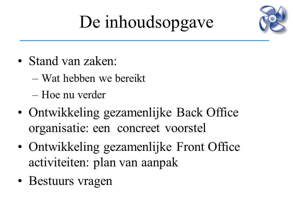 De inhoudsopgave Stand van zaken: –Wat hebben we bereikt –Hoe nu verder Ontwikkeling gezamenlijke Back Office organisatie: een concreet voorstel Ontwi