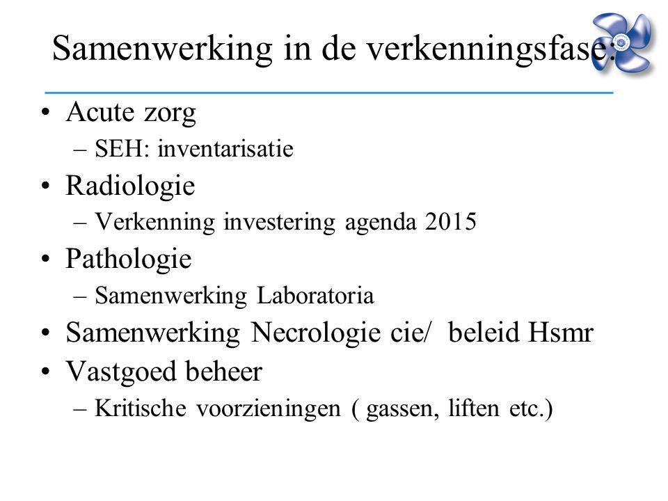 Samenwerking in de verkenningsfase: Acute zorg –SEH: inventarisatie Radiologie –Verkenning investering agenda 2015 Pathologie –Samenwerking Laboratori