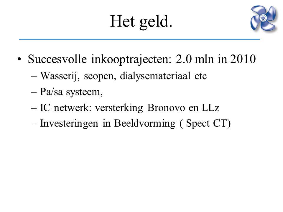 Het geld. Succesvolle inkooptrajecten: 2.0 mln in 2010 –Wasserij, scopen, dialysemateriaal etc –Pa/sa systeem, –IC netwerk: versterking Bronovo en LLz
