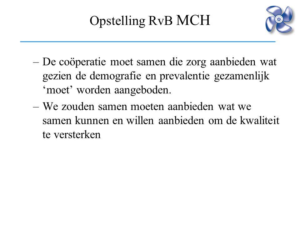 Opstelling RvB MCH –De coöperatie moet samen die zorg aanbieden wat gezien de demografie en prevalentie gezamenlijk 'moet' worden aangeboden. –We zoud