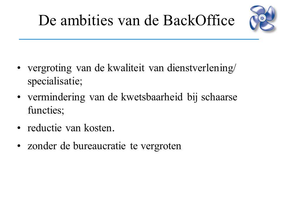 De ambities van de BackOffice vergroting van de kwaliteit van dienstverlening/ specialisatie; vermindering van de kwetsbaarheid bij schaarse functies;
