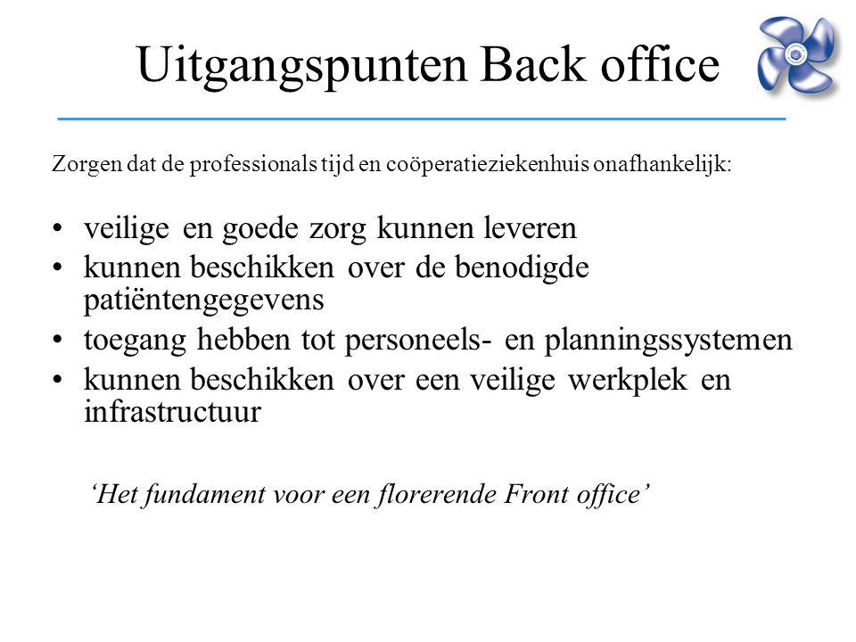 Uitgangspunten Back office Zorgen dat de professionals tijd en coöperatieziekenhuis onafhankelijk: veilige en goede zorg kunnen leveren kunnen beschik
