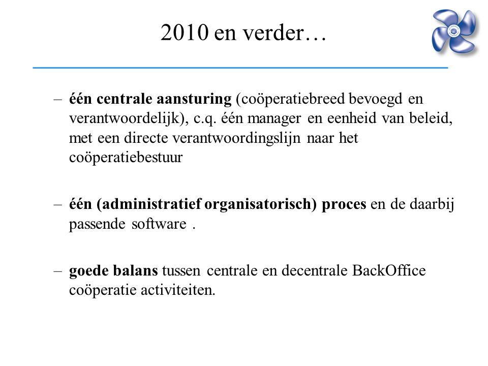 2010 en verder… –één centrale aansturing (coöperatiebreed bevoegd en verantwoordelijk), c.q. één manager en eenheid van beleid, met een directe verant